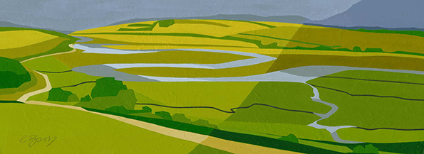 Cuckmere Meanders, South Coast  Eric Ravilious' 1939 watercolour of this landscape inspired my mixed media painting of the Cuckmere River.  Original acrylic and mixed media painting Framed size: 25.5cm high x 52.5cm wide  Original sold but available as signed, limited edition, giclee print Mounted, full size print: 34.5cm high x 59.5cm wide