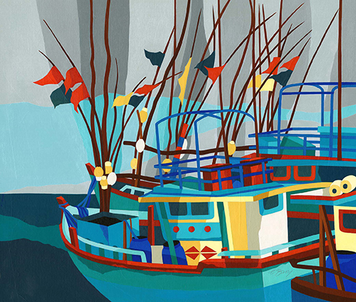 Tangalle boats, Sri Lanka  Brilliantly colourful fishing boats at Tangalle Harbour. These relatively small vessels are at sea for several weeks at a time.  Original acrylic and mixed media painting Framed size: 58cm high x 64cm wide  Also available as signed, limited edition, giclee print