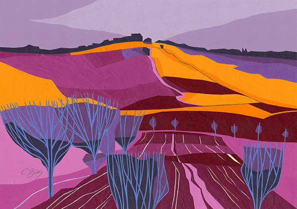 From Villanova  The hillside across the valley from Villanova, near Perugia, in Umbria.  Original acrylic and mixed media painting Framed size: 32cm high x 42cm wide  Original sold but available as signed, limited edition, giclee print Mounted, full size print: 39cm high x 45cm wide