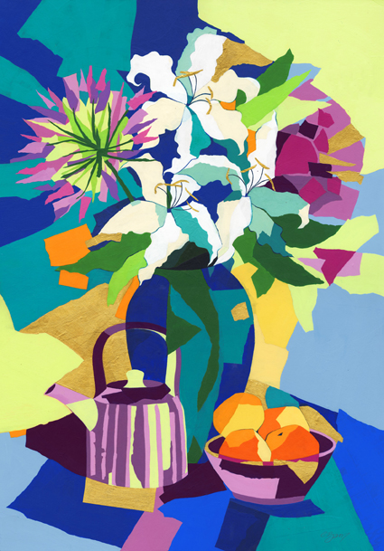 Lilies and agapanthus  Original acrylic and mixed media painting Framed size : 96cm high x 73cm wide  Original sold but available as signed, limited edition, giclee print, full size or reduced size Mounted, reduced size print: 63cm high x 47cm wide