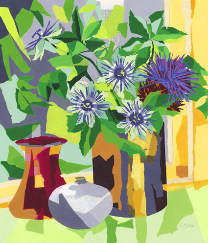 Passion flowers and cardoon  Original acrylic and mixed media painting Framed size: 74cm high x 65cm wide  Original sold but available as signed, limited edition, giclee print, full size or reduced size Mounted, reduced size print: 54.5cm high x 46.5cm wide