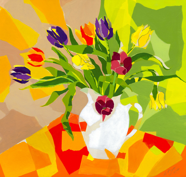 Tulips   Original acrylic and mixed media painting Framed size: 71.5cm high x 73.5cm wide  Original sold but available as signed, limited edition, giclee print, full size or reduced size Mounted, reduced size print: 48cm high x 47cm wide