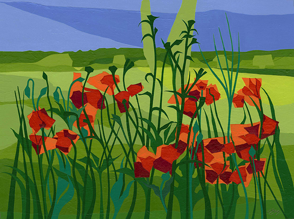 Poppies near Tring  Poppies in a field on the edge of Tring, off the Icknield Way.  Original acrylic and mixed media painting Framed size: 43cm high x 53cm wide  Original sold but available as signed, limited edition, giclee print Mounted, near full size print: 47cm high x 54cm wide
