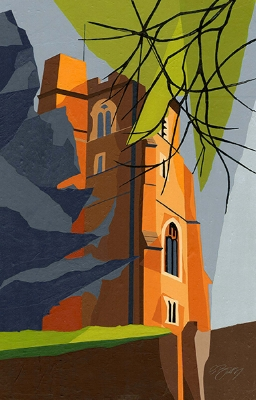 St Andrew's, Ampthill  St Andrew's is on a delightful, tranquil lane, set back from the main road through Ampthill.  Original acrylic, ink and mixed media painting Framed size: 43cm high x 33cm wide  Original sold but available as signed, limited edition, giclee print   Mounted, full size print: 47cm high x 36cm wide