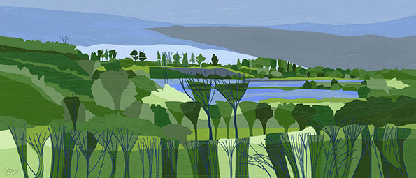 College Lake  College Lake is a nature reserve in a former chalk quarry and includes wetland, marshland and chalk grassland.  Original acrylic & mixed media painting Framed size: 46.5cm high x 82.5cm wide  Also available as signed, limited edition, giclee print Mounted, reduced size print: 42.5cm high x 72cm wide