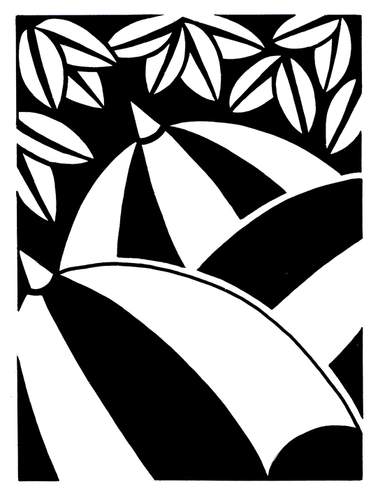 Umbrellas  Available as signed giclee print, 20cm sq (no mount)