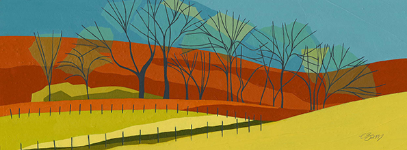 From Mentmore  A winter view of the undulating fields below Mentmore.  Original acrylic and mixed media painting Framed size: 25.5cm high x 52.5cm wide  Original sold but available as signed, limited edition, giclee prints Mounted, full size print: 34.5cm high x 59.5cm wide