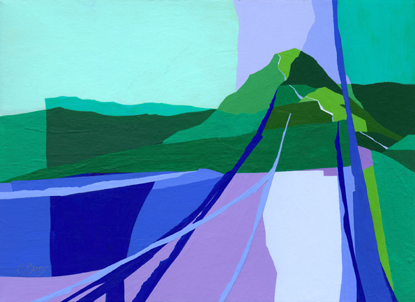 Catbells, Lake District  Original acrylic and mixed media painting on canvas Framed size: 46cm high x 61cm wide  Also available as signed, limited edition, giclee print, full size or reduced size Mounted, reduced size print: 48cm high x 57cm wide