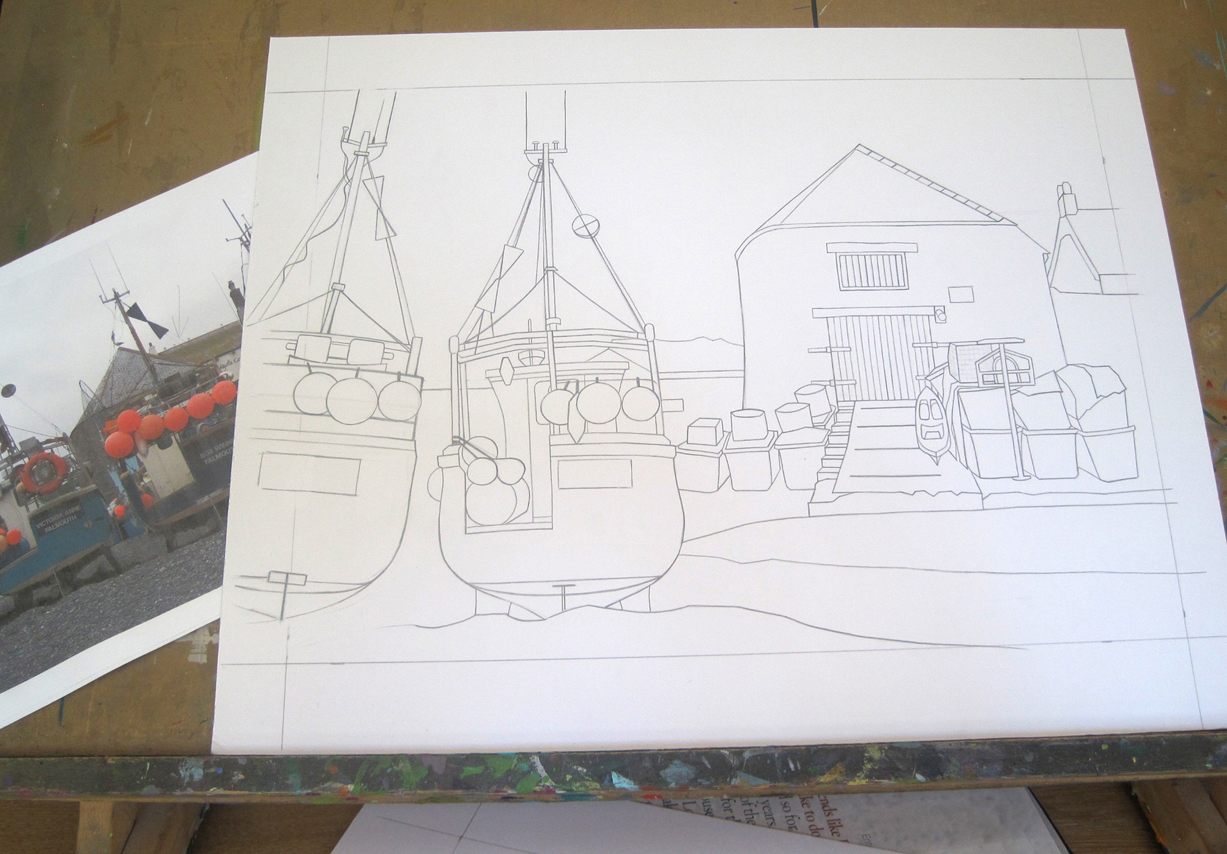 1 - Using sketches and photographs taken in the field, the composition is drawn onto board or canvas