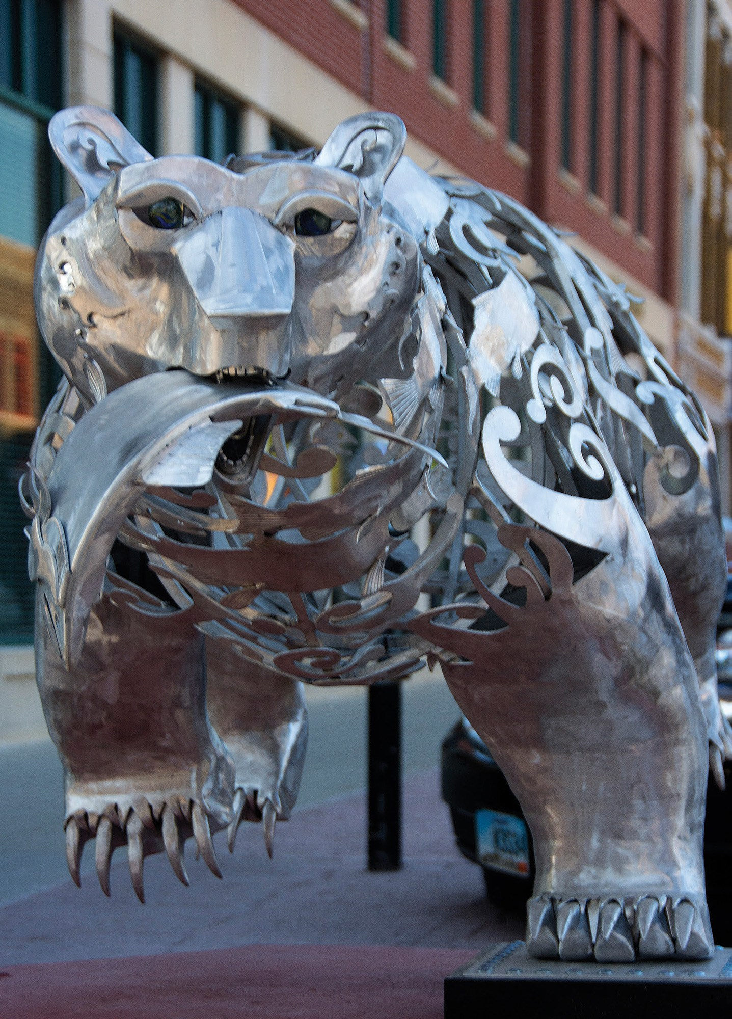 "ON DISPLAY AT SCULPTUREWALK, ""SALMON RUNNER,"" BY ARTIST HEATHER WALL FROM BRITISH COLUMBIA, IS MADE OF ALUMINUM."