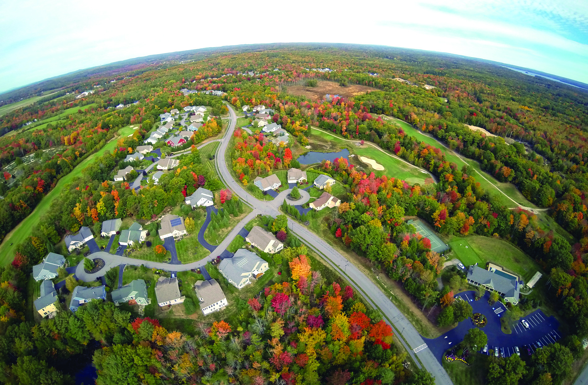 Highland Green in Topsham integrates conservation land into the community, with a third of the 635-acre campus preserved as open space. Photo courtesy of Highland Green.
