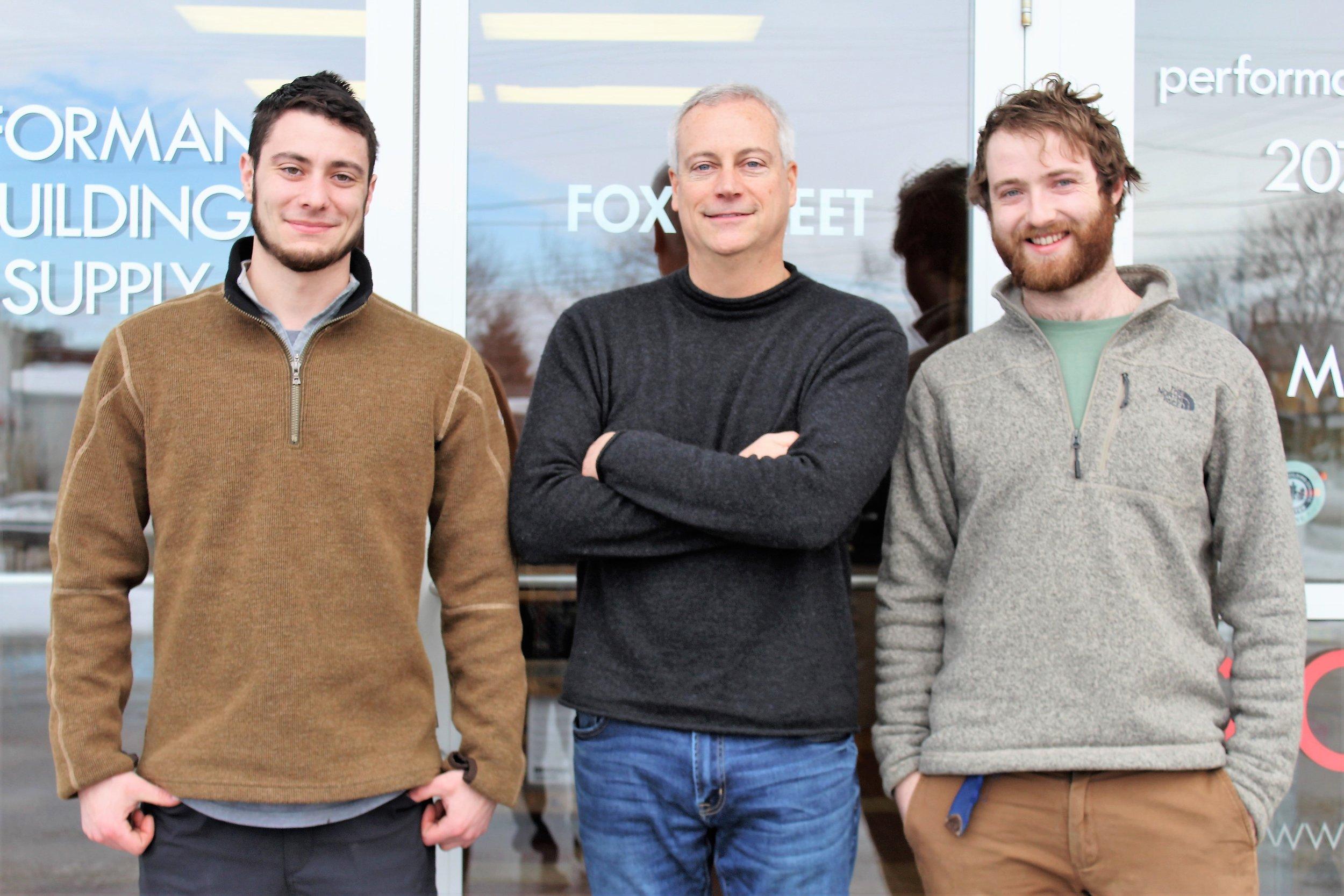 Zak Konstantino, Steve Konstantino and Ben McCrave outside the Performance Building Supply Showroom.