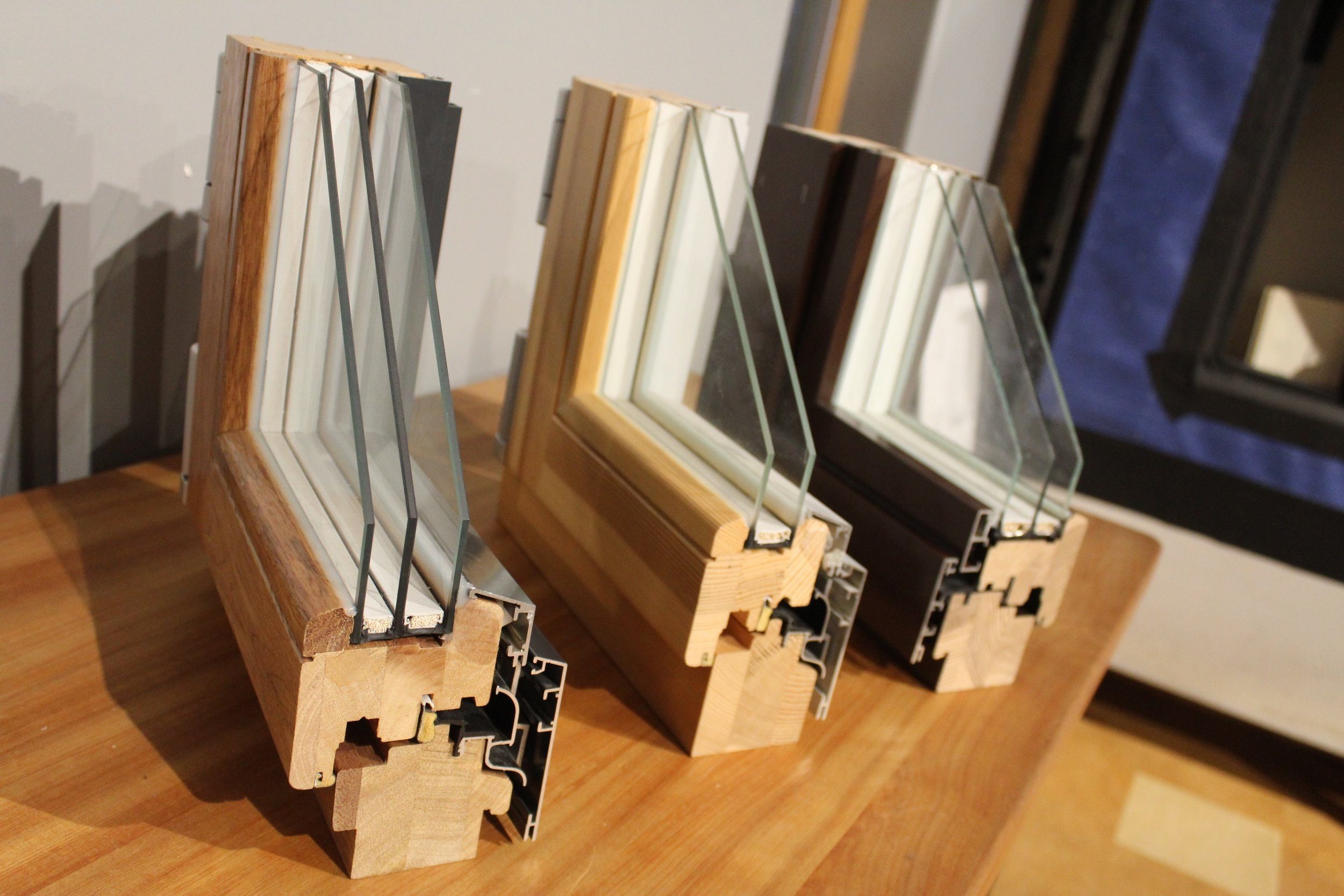 A cross-section of triple-paned windows available through Performance Building Supply.