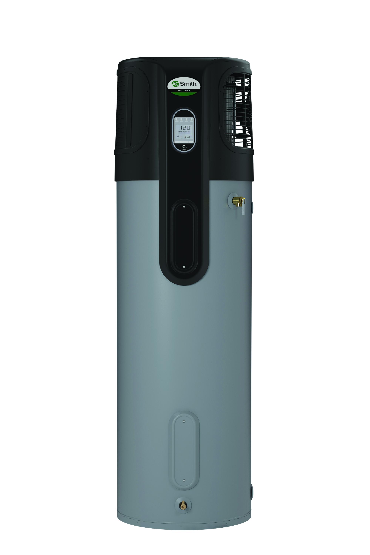 Photo courtesy of AO Smith. Voltex (R) hybrid electric heat pump.