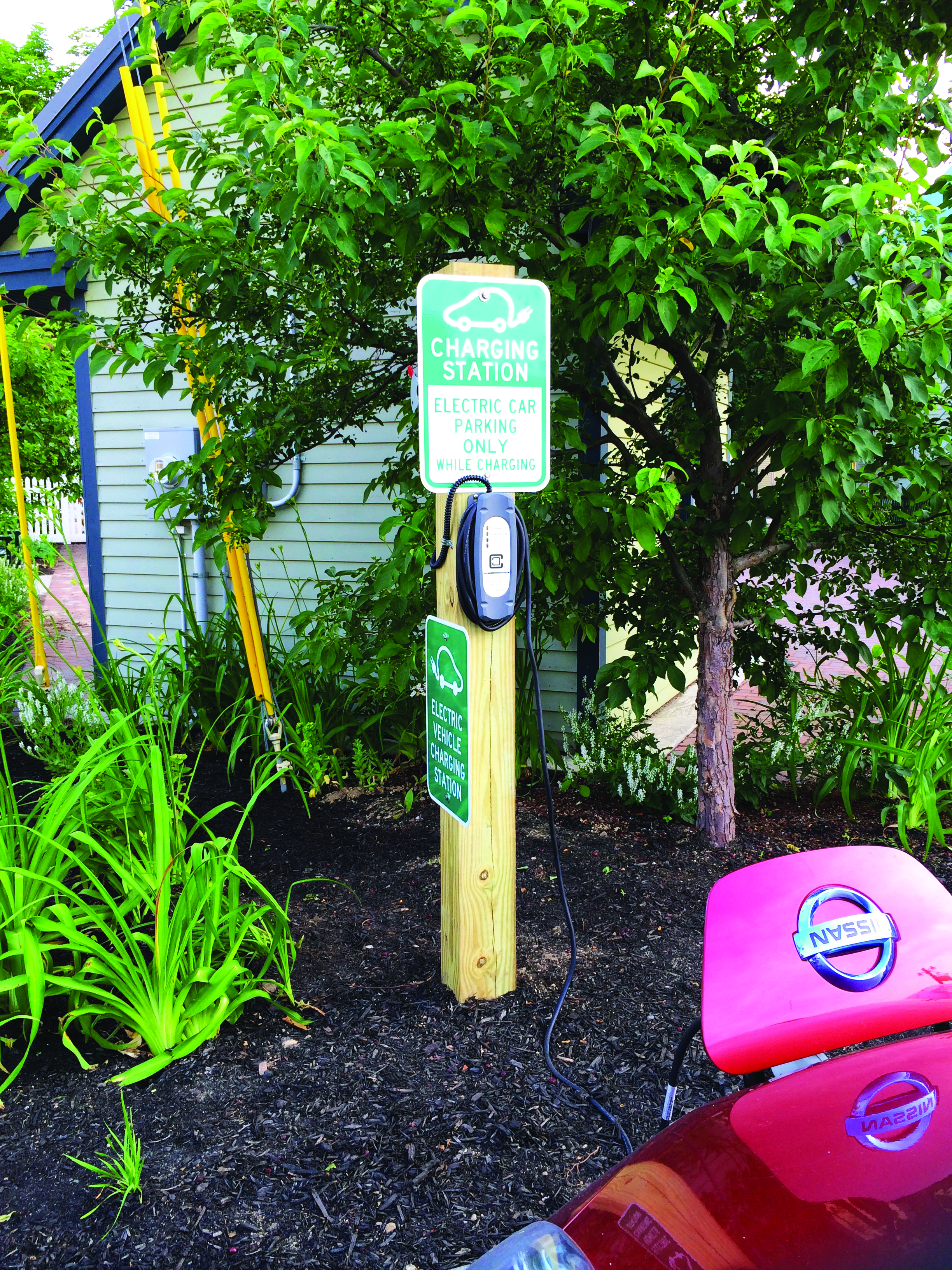 A free public charging station for electric vehicles has been available since the summer of 2014 on Deering Street in Norway, ME.