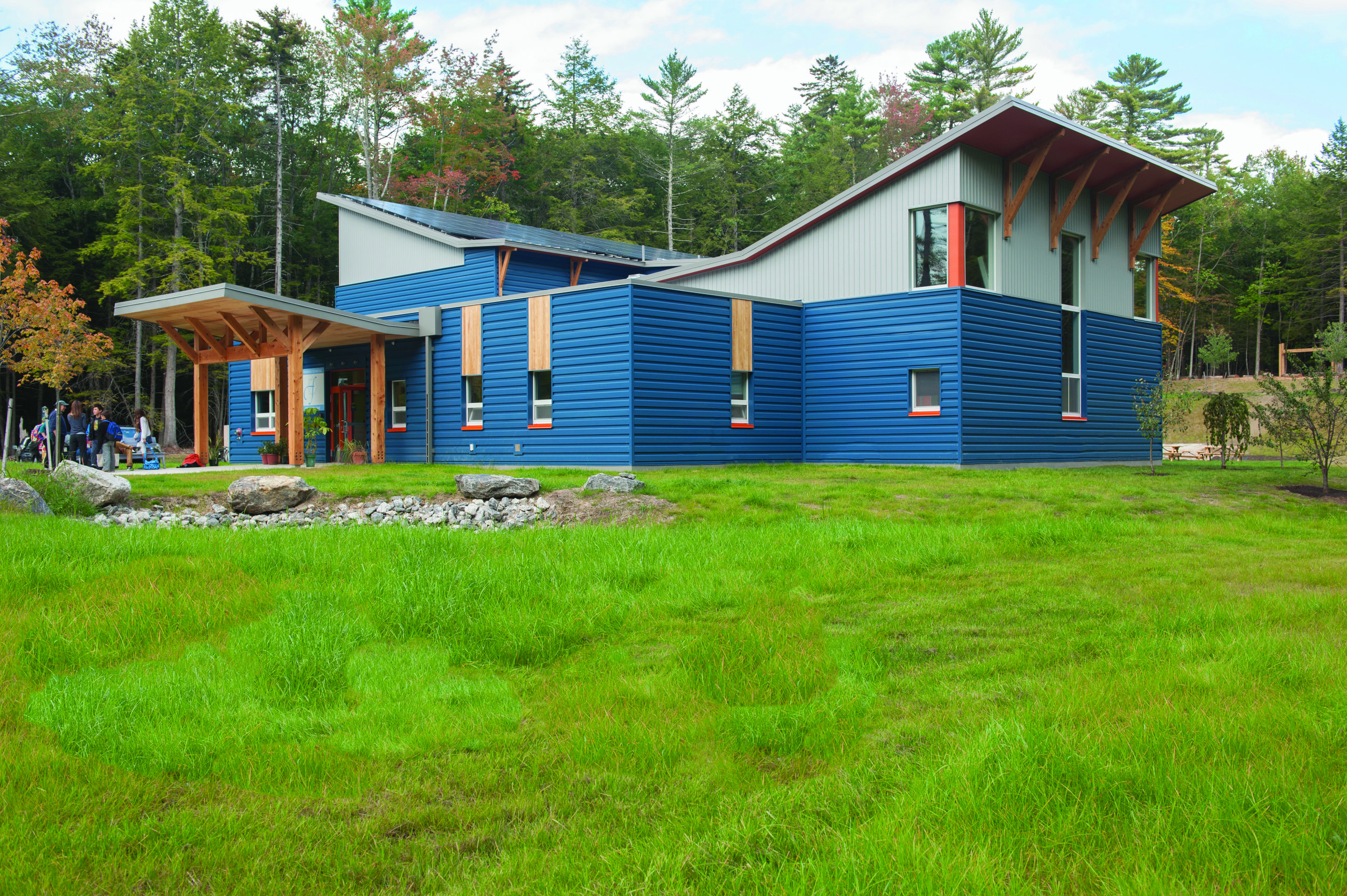 Friends School of Portland, completed in August, 2015 in Cumberland, is the first passive house school in Maine and the fourth in the country. FSP is net zero with a solar array that offsets all energy usage. Photo Naomi Beal