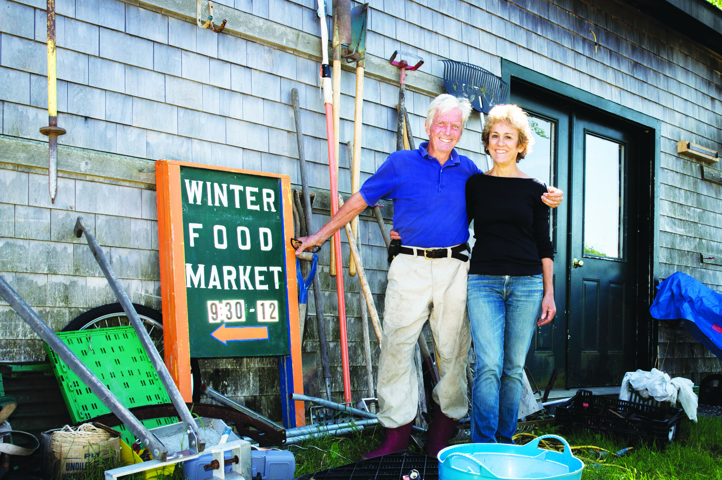 Maine's own four-season gardening gurus Eliot Coleman and Barbara Damrosch, pictured here on their 40-acre Four Season Farm in Harborside. Photo: John Finch