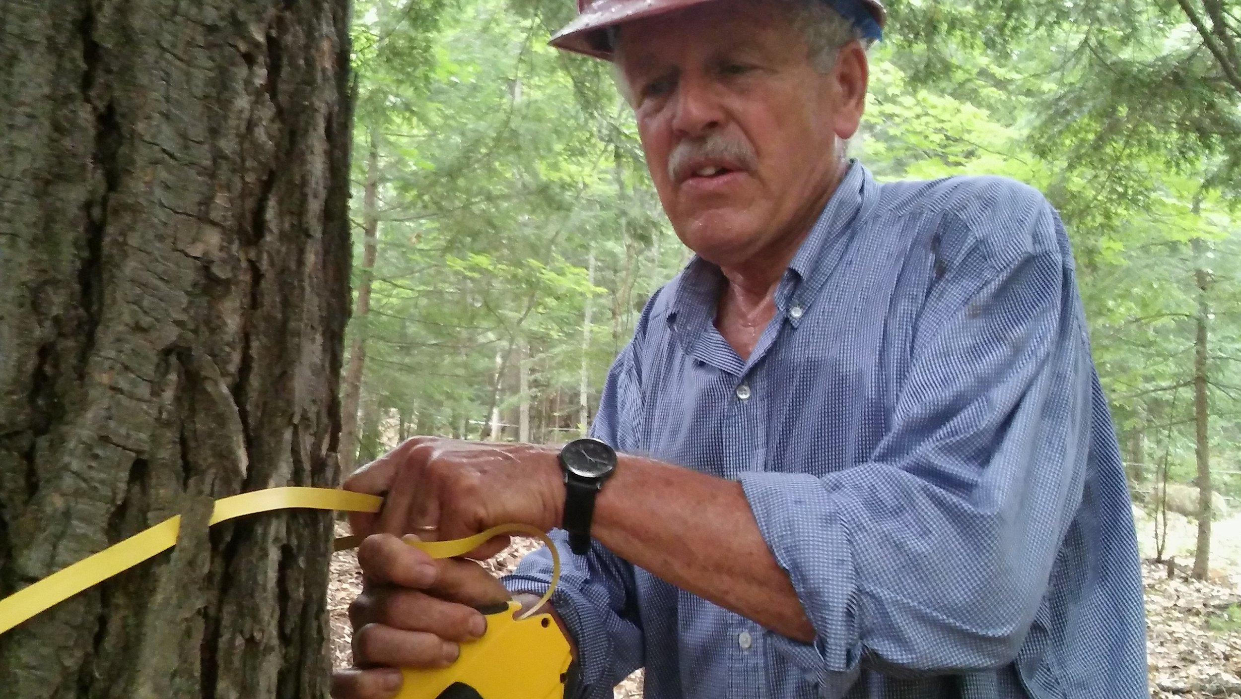 Carbon storage calculations can be done with a few simple tools, as Peter Hagerty demonstrates. Photo: Lee Burnett