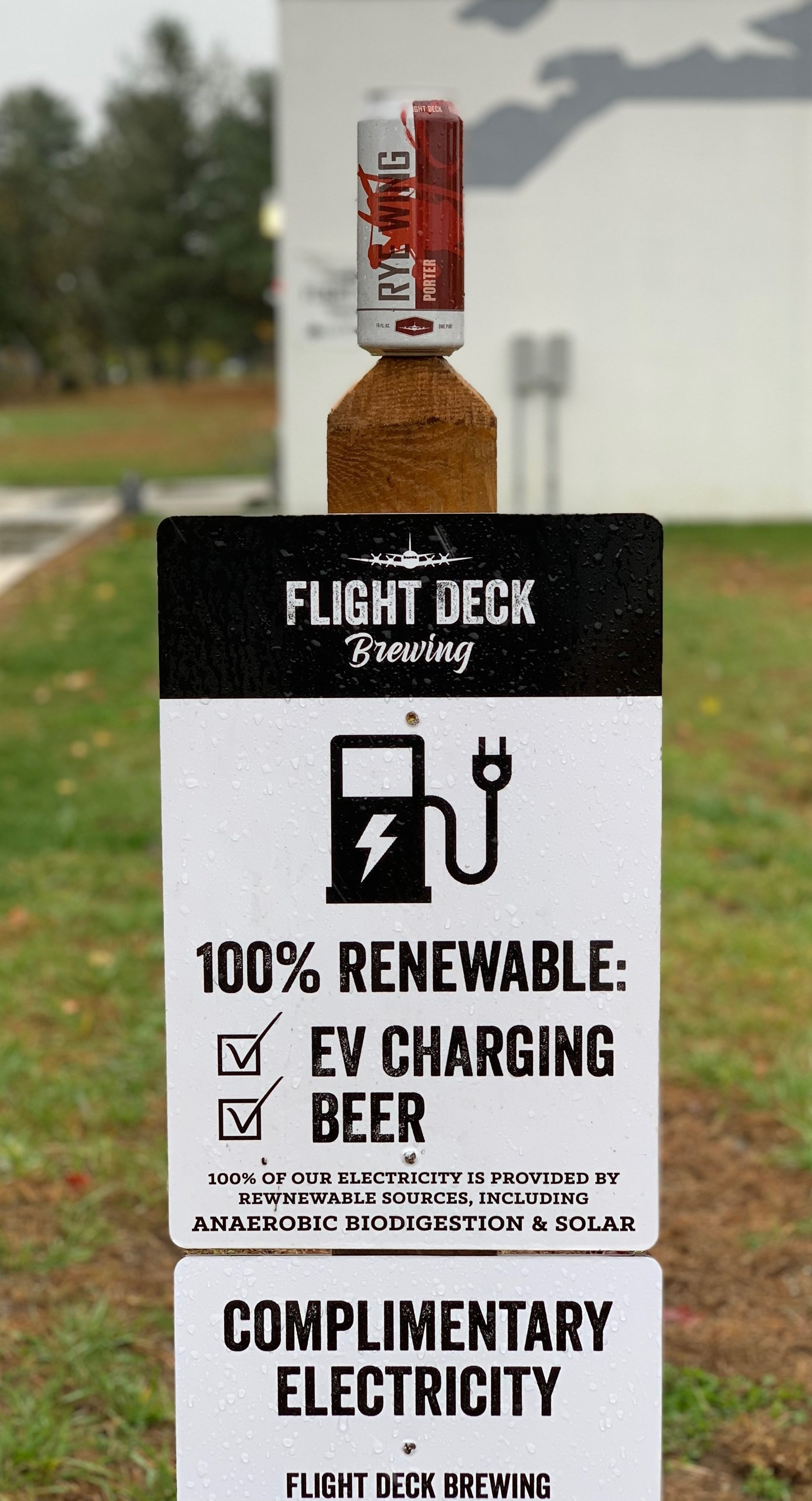 Flight Deck Brewing at the Brunswick Landing offers 4 EV chargers (three Tesla and one Level 2) that are free and open to the public. They are 100% powered by renewable energy, which is generated nearby by a large solar array and an anaerobic biodigestor. Any remaining electricity is grid-sourced and offset with renewable energy credits.