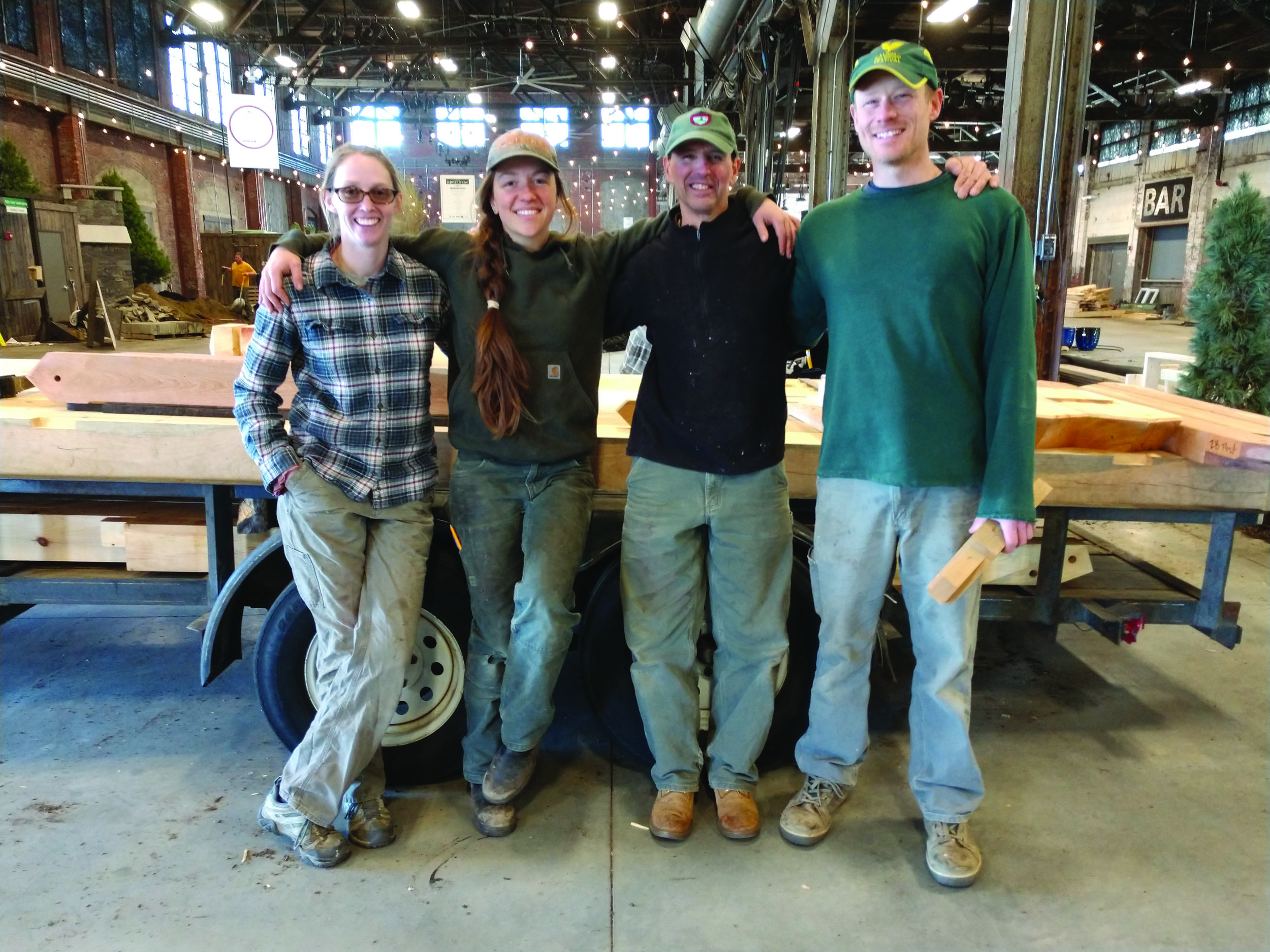 The team at Maine Heritage Timber Frames. From left to right: Kelly Mann, Ariel Burns, Ken Vorhees, and Mark Casad.  Photo courtesy of Maine Heritage Timber Frames