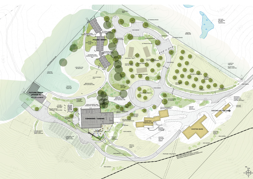 Site plan of the buildable lot at River Bend Farm. The remaining portion of the 105-acre property is held under conservation easement by Maine Farmland Trust. Architectural rendering by Kaplan Thompson Architects.