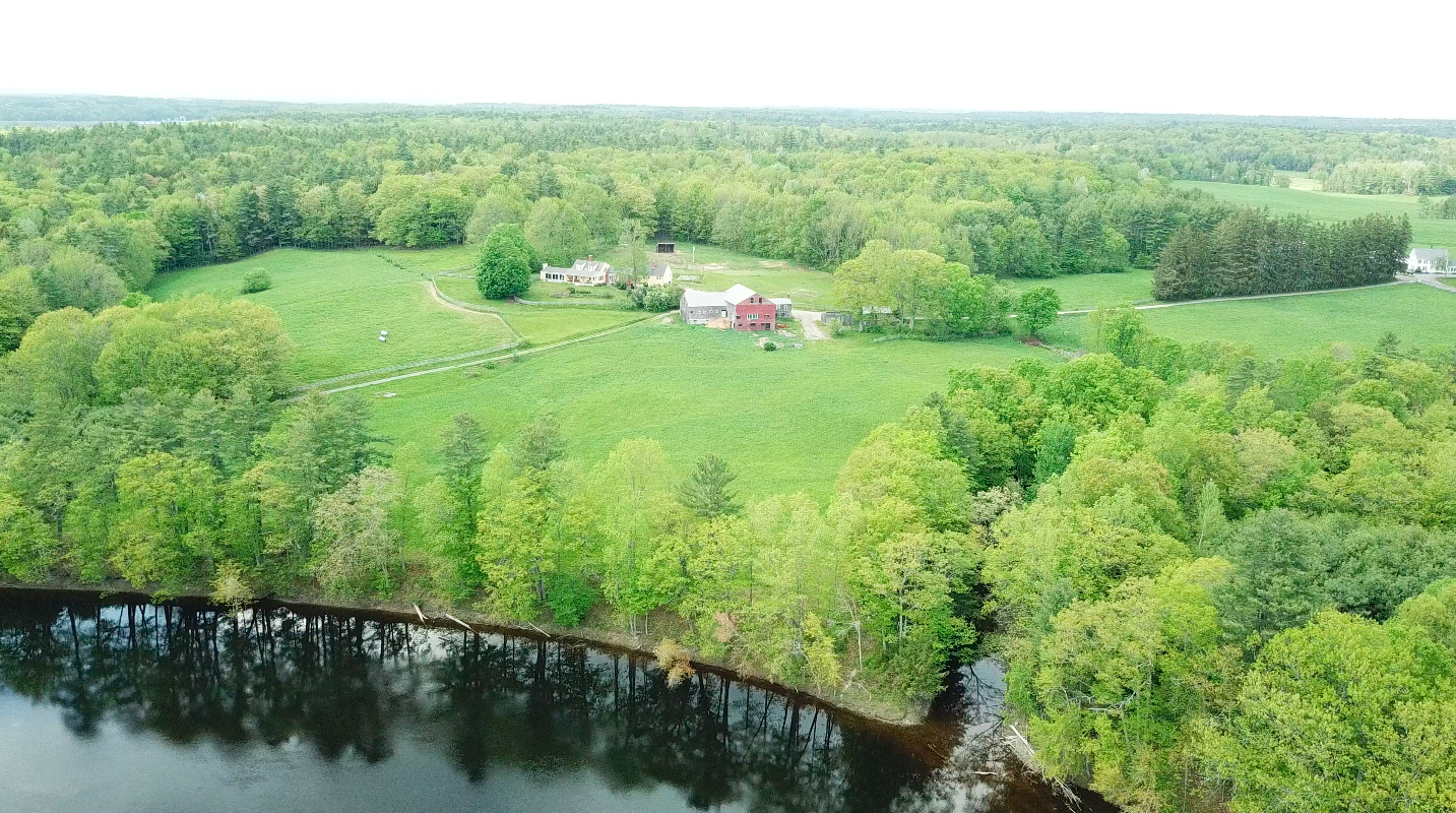 Aerial view of River Bend Farm and the Saco River.  Photo courtesy of Brody Todd.
