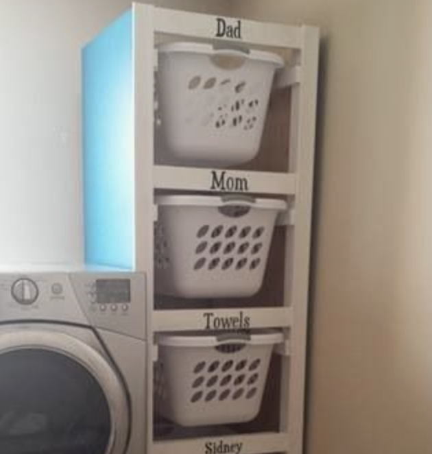 3. Sort & Delegate - Designate baskets for each member of your family to make sorting clean clothes a breeze. Then you can easily put things away or put your family to work!