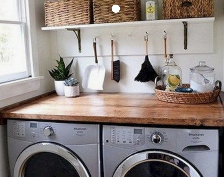 4. Add Counter Space - Don't waste the space above your washer and dryer, add some workable space and help unify the look of your laundry room.