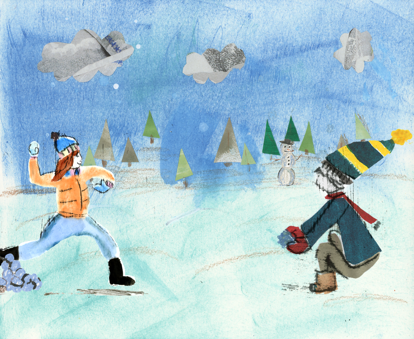 snowball fight illustration