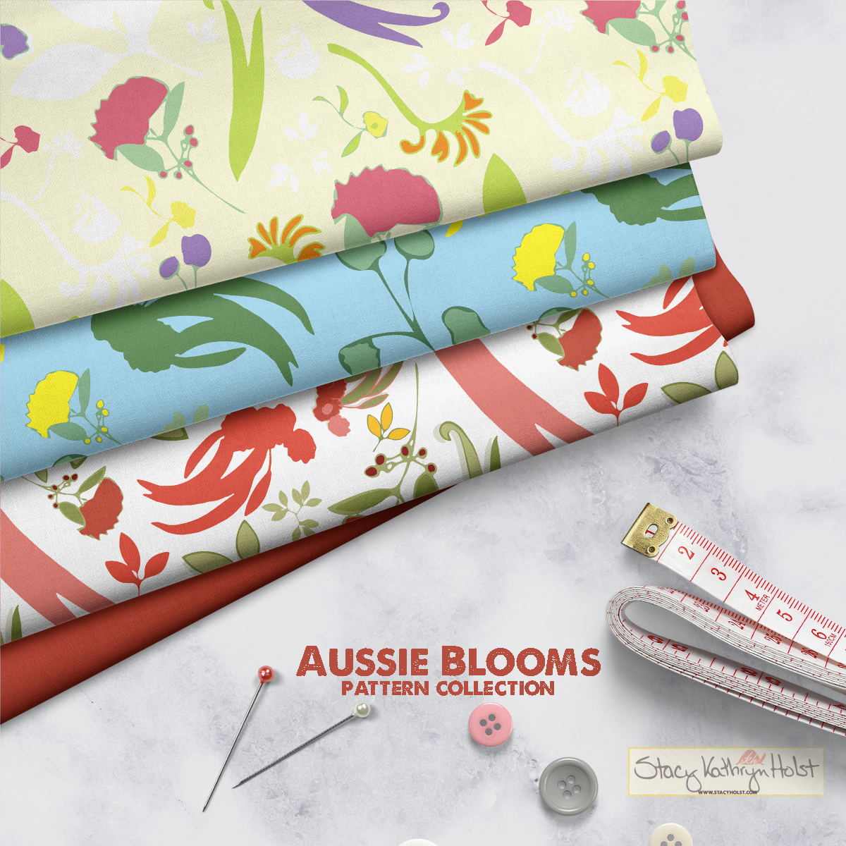Aussie Blooms Pattern Collection Mockup
