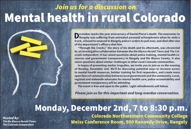 Flyer inviting community members to a public conversation on mental health. Source: Herald Times .