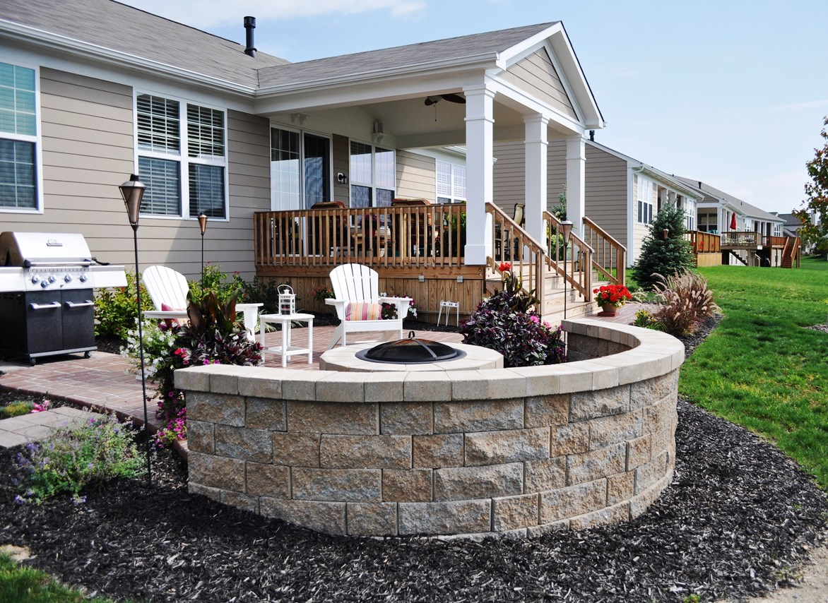 patio, stenciled, ashlar slate, rust brown, autumn brown, champagne wall and firepit 2