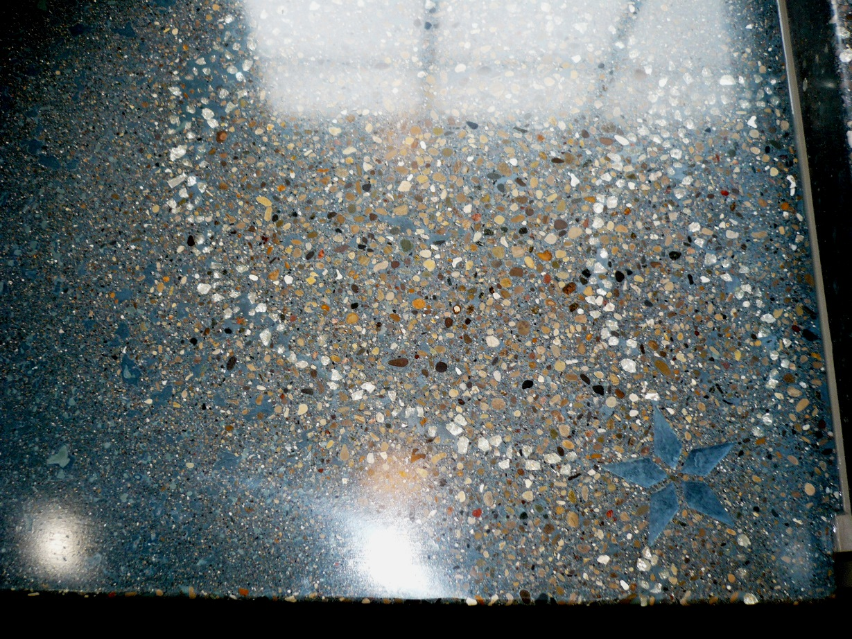 Countertop, Precast Pour and Vibrate , Chang Tahoe base color, Fill ocean, glass embeds, chang seal 1