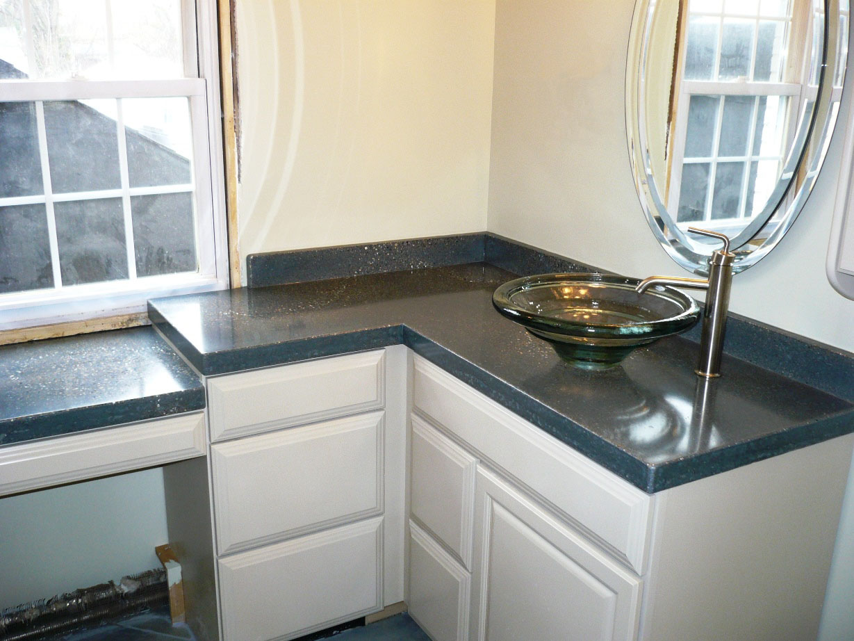 Countertop, Precast Pour and Vibrate 1, Chang Tahoe base color, Fill ocean glass embeds, chang seal