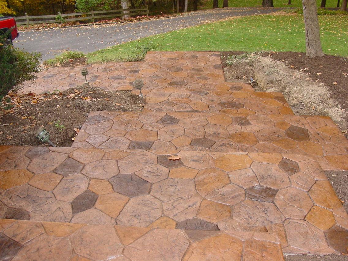 Random Stone Stamp Walkway and Steps, Mesa Buff color, dark walnut and random acid stain