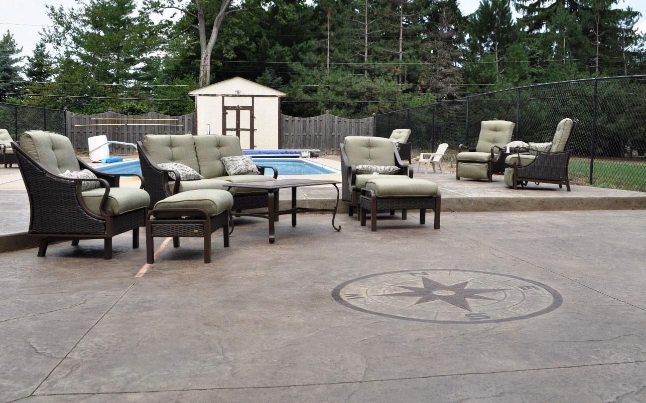 pool deck, textured, old granite, oyster white, dark walnut, compass stamp 5