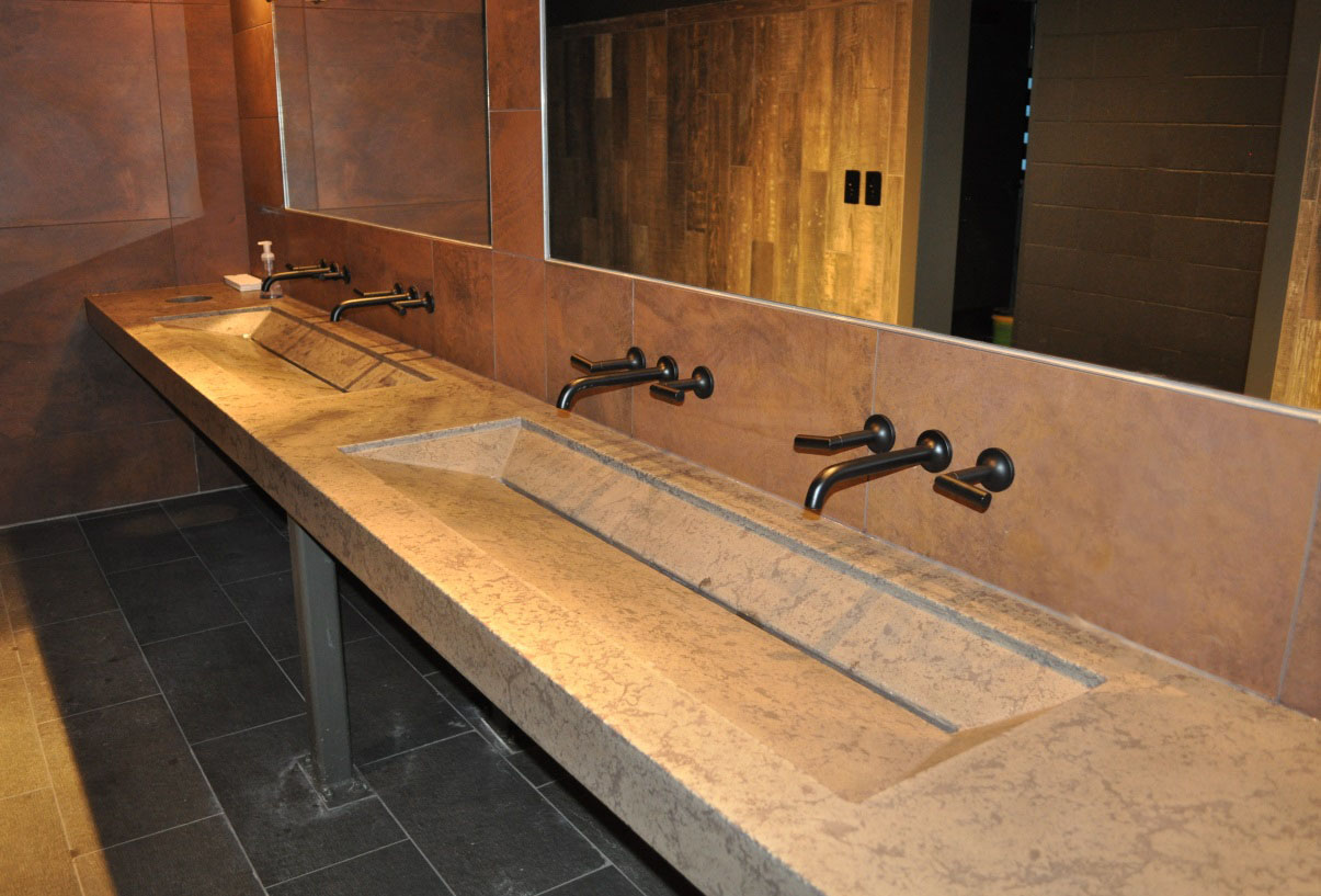 Four Day Ray counter vanity sink, Buddy Rhodes pressed method, universe base, chocolate fill, Buddy Rhodes Sealer 3