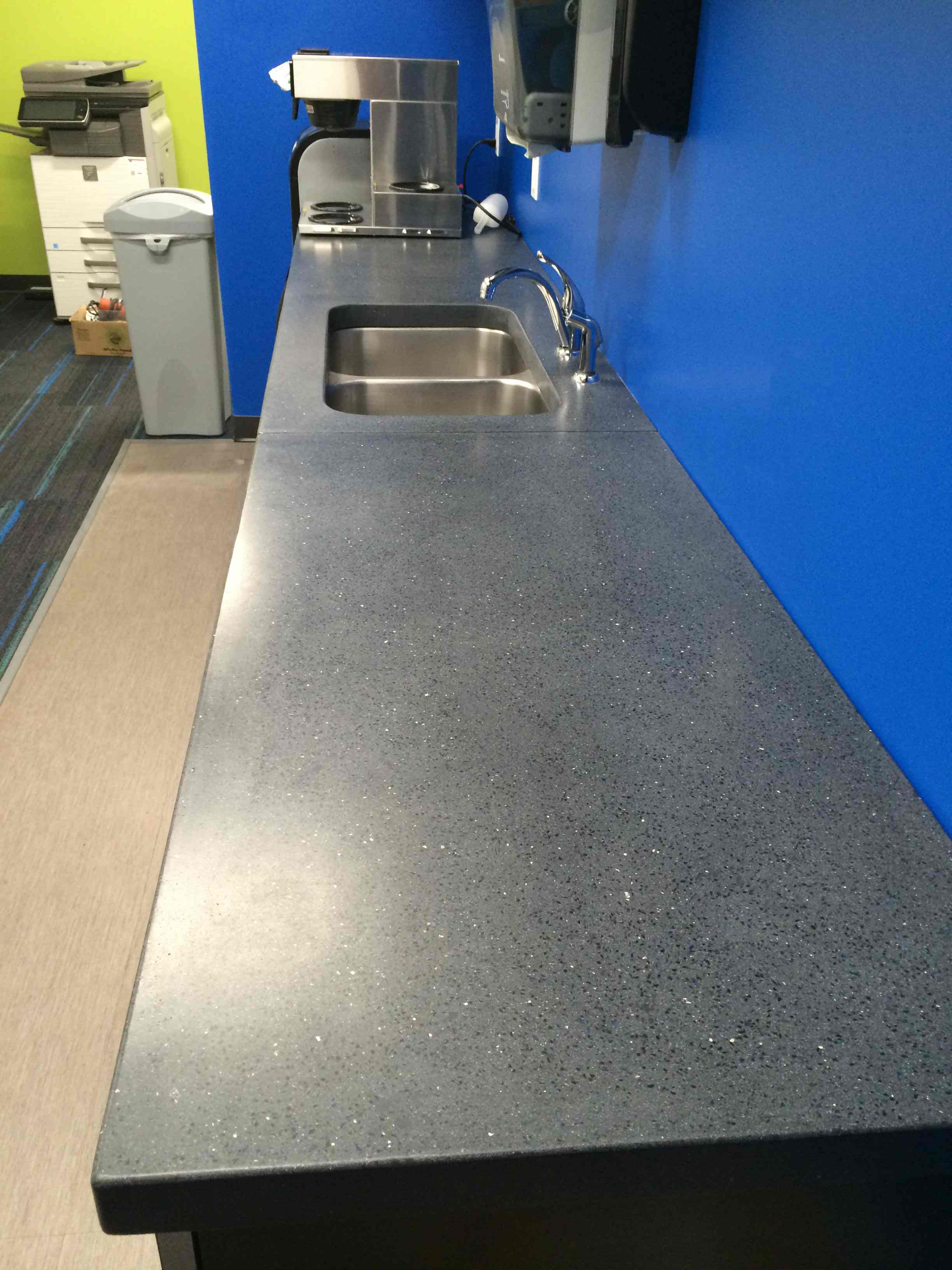 Precast Countertop, Coal with black dye with black glass, blue glass, all side mirror glass 2