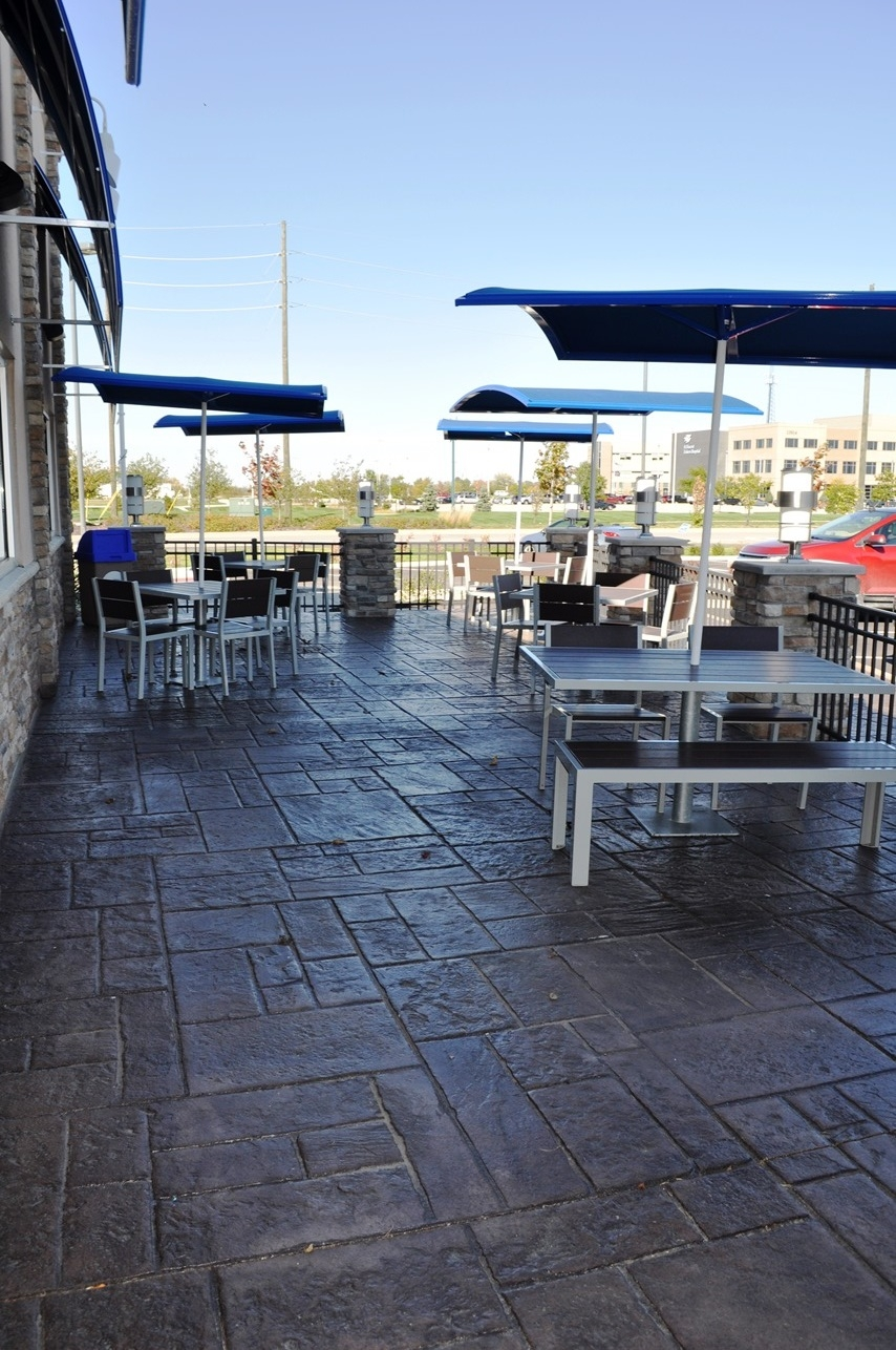 Culvers Patio, Stamped,Stone of Athens, Cocoa Integral Color and Dark Walnut