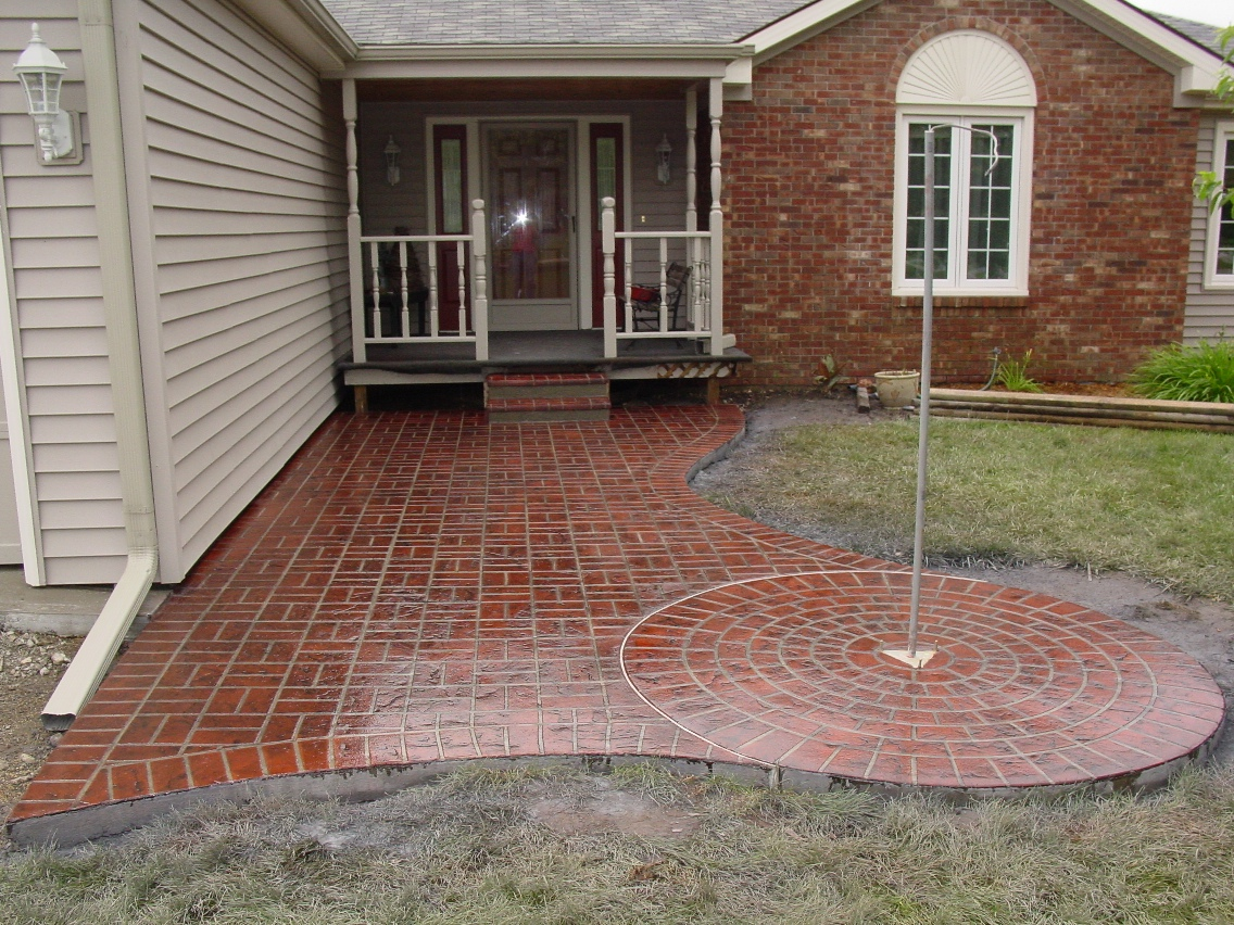 Basket Weave and Large Circle Stenciled with Brick Red Color and Charcoal Gray Release Porch