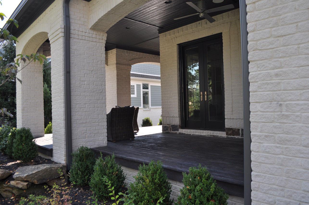 Entry, Stamped Wood Plank, Dark Walnut, Splash of Mesa Buff, Charcoal Gray