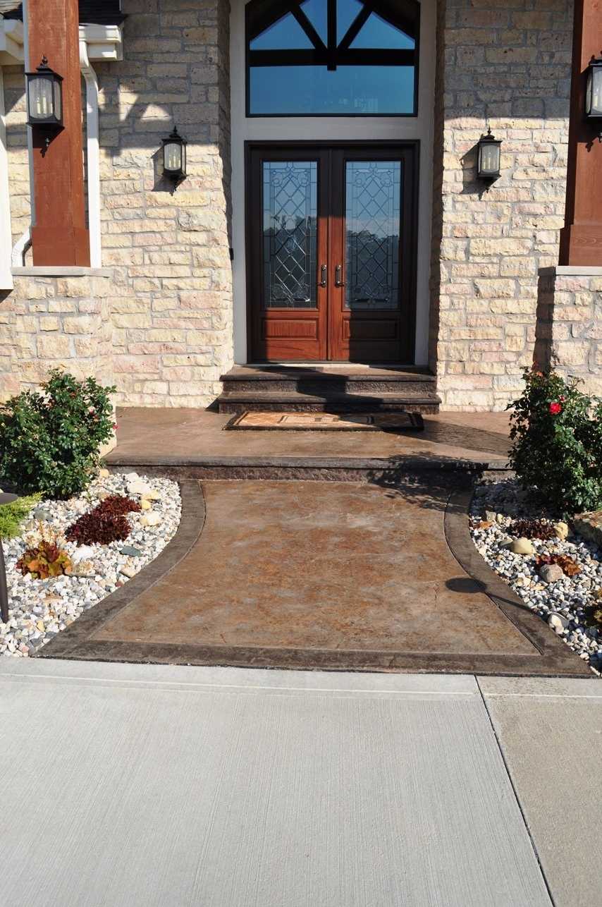 Stamped porch with border