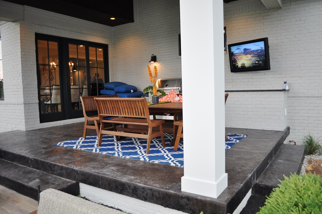 Homearama-Chatham C7 back porch and steps, Italian slate, dark walnut base, charcoal gray release.JPG