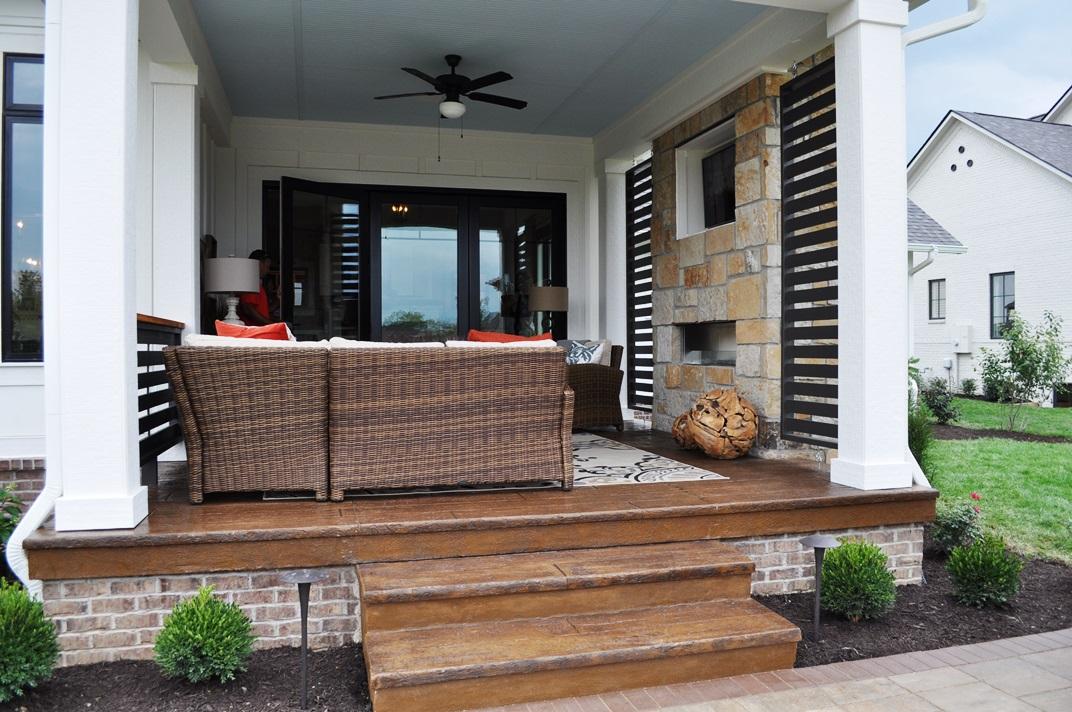 Porch steps, 8 in reclaimed timber, saddle brown base, dark walnut release.JPG
