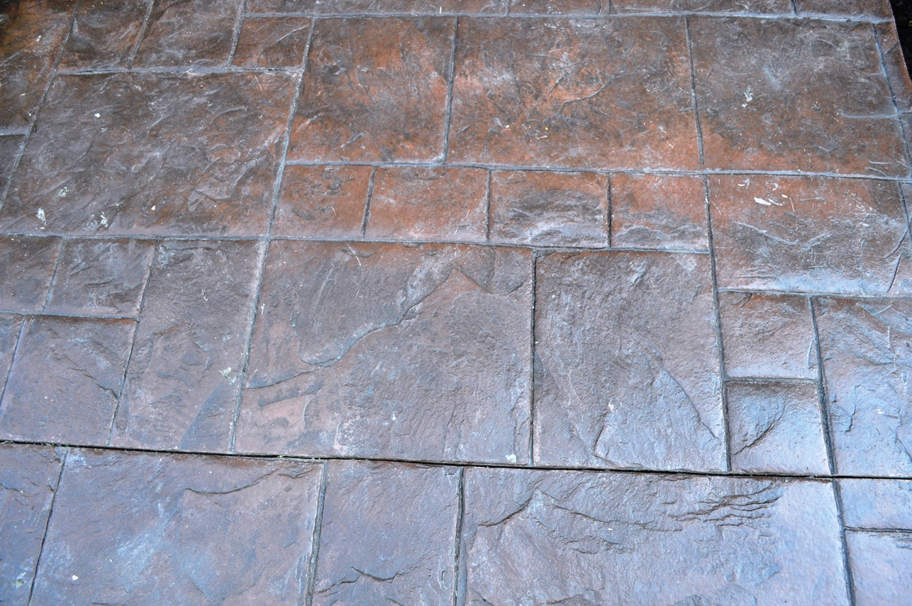 grand ashlar slate stamp, rust brown base, dark walnut release and venetian pink color splashes