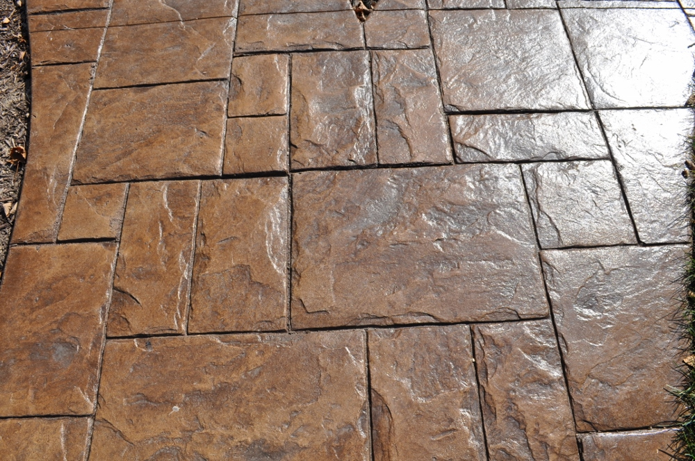 Grand ashlar slate stamp, wheat, base, dark walnut release 2