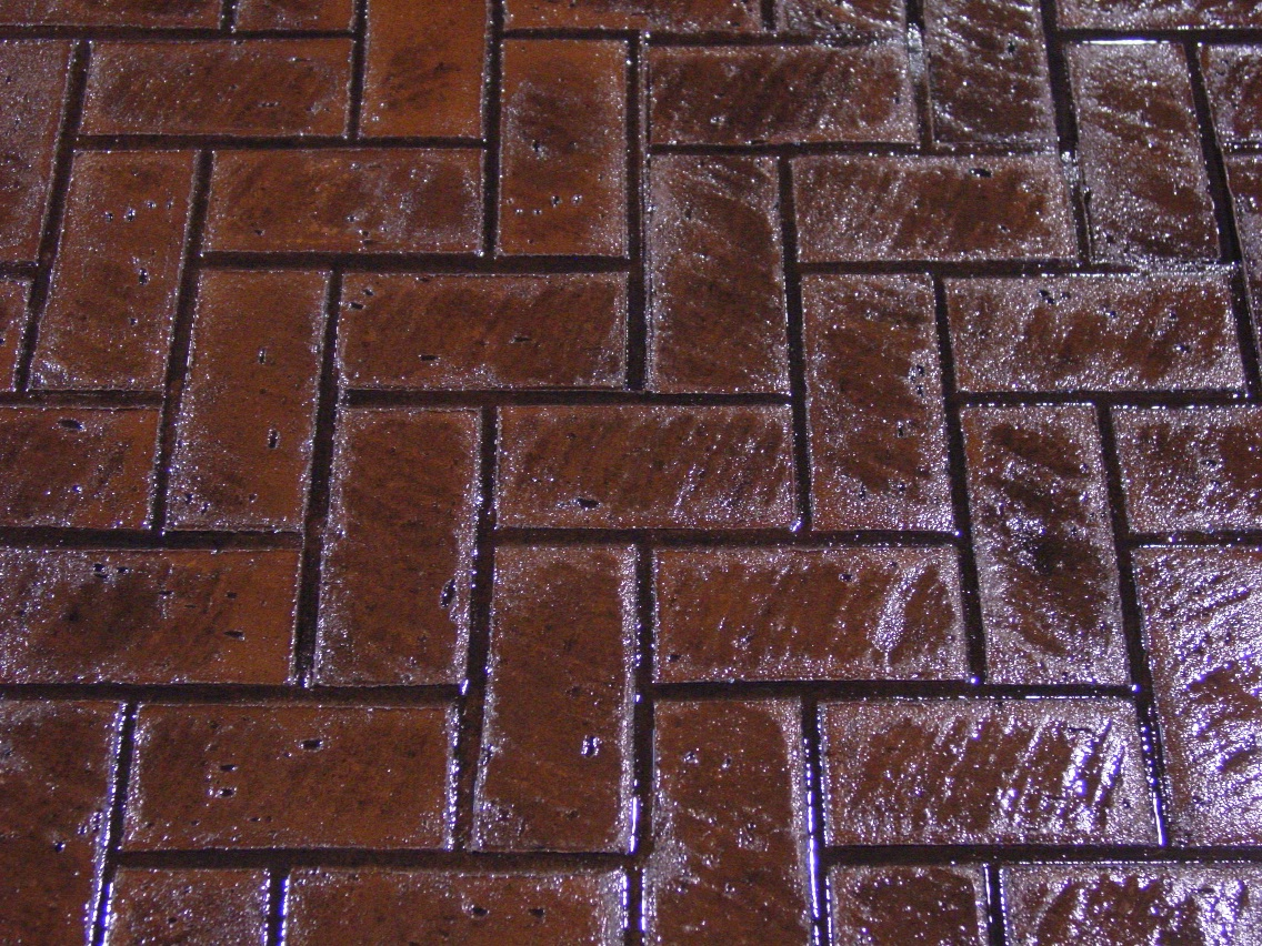 Herringbone new brick stamp, Rust Brown, Charcoal Gray
