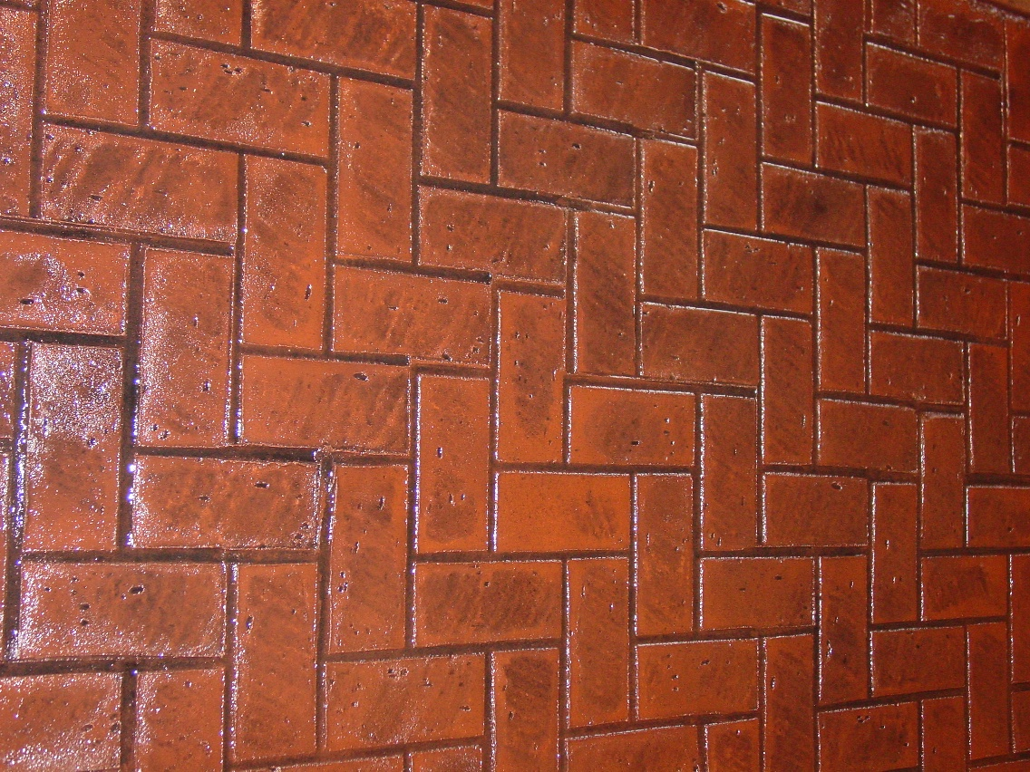 Herringbone new brick stamp, Rust Brown, Dark walnut