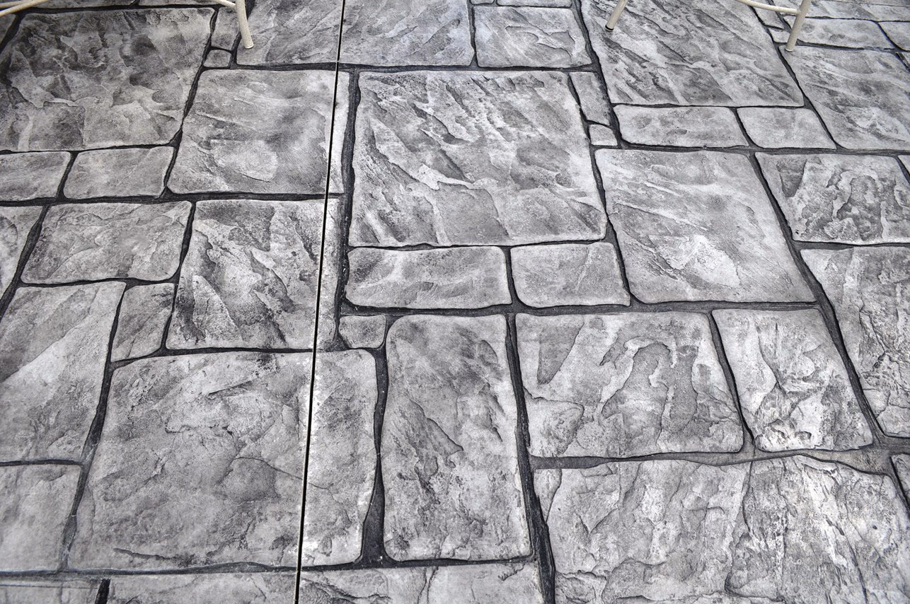 Stamped English Yorkstone, Sable, Charcoal