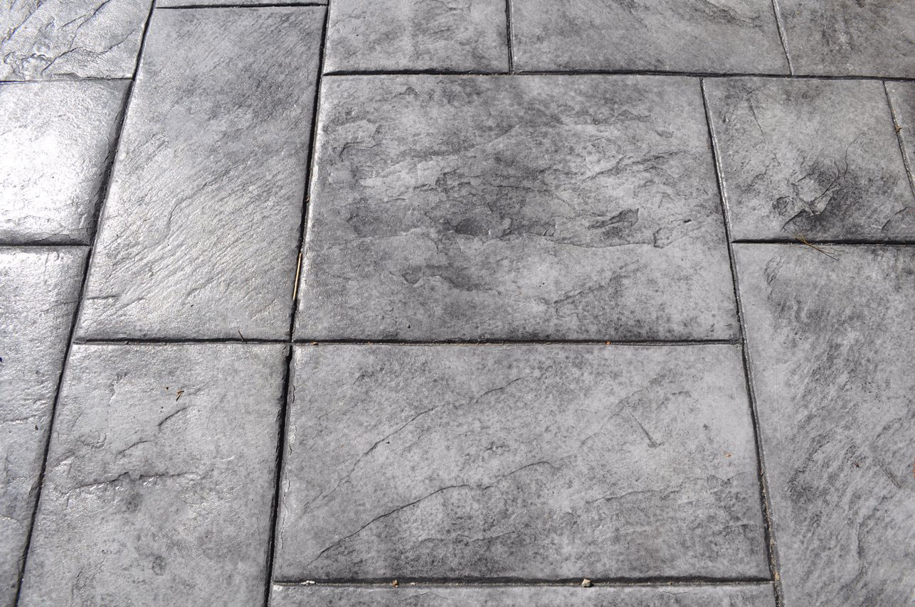Stamped Large Ashlar Slate pattern, Sable, Charcoal Gray